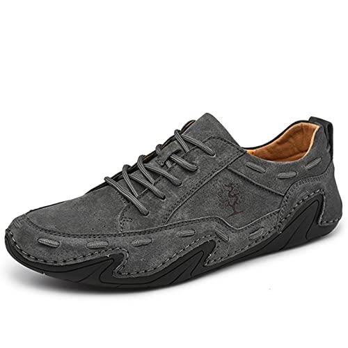 QY-Youth Scarpe da Uomo in Vera Pelle Scarpe da Uomo in Pelle Scamosciata da Esterno Sneakers da Uomo di Lusso Scarpe da Guida a Mano Scarpe da Ginnastica da Uomo Traspirante,Grigio,39