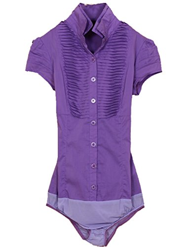 E-SHINE CO korte mouwen dubbele kraag slim shirt vrouwen body top blouse