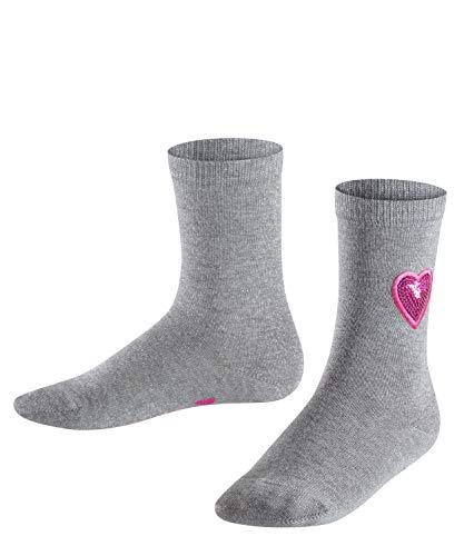 FALKE Kinder Socken Sequins, Baumwollmischung, 1 Paar, Grau (Light Grey 3400), Größe: 39-42