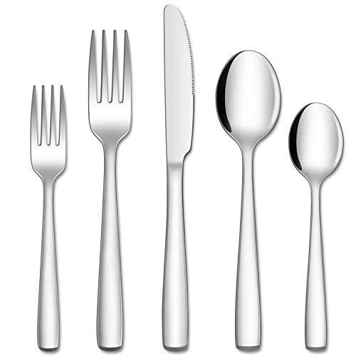 Hiware 60-Piece Silverware Set for 12, Stainless Steel Flatware Cutlery Set For Home Kitchen Restaurant Hotel, Mirror Polished, Dishwasher Safe
