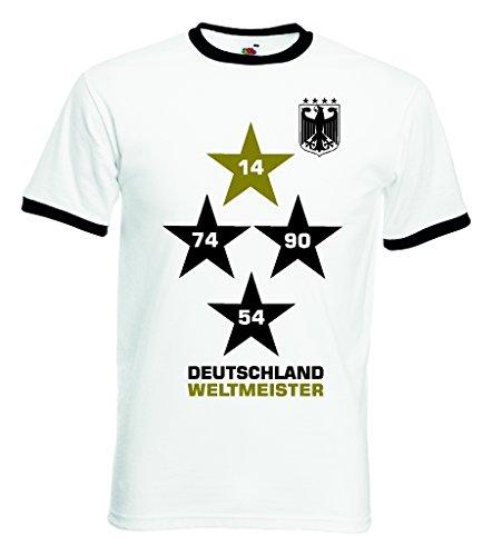 Fruit of the Loom Deutschland Weltmeister Herren Retro T-Shirt 4 Sterne Trikot|XXL
