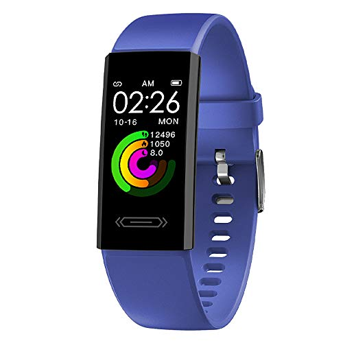 2021 Version Fitness Activity Tracker with Body Temperature Heart Rate Sleep Health Monitor Pedometer Step Calorie Counter Watch for Women Men Teens Boys Girls (Blue)