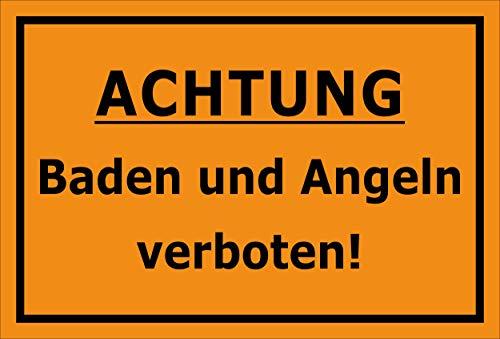 Melis Folienwerkstatt Schild Baden Angeln verboten 30x20cm - Bohrlöcher - 3mm Aluverbund – 20 VAR S00110-001-E