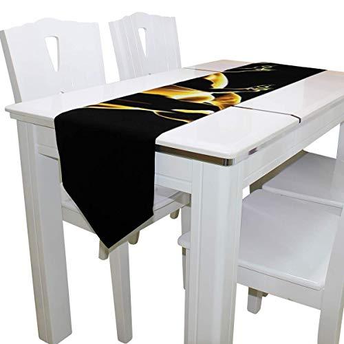 N/A Eettafel Runner Of Dresser Sjaal, Gloeiende T-Rex Grote Zwarte Dino Deck Tafelkleed Runner Koffie Mat voor Bruiloft Partij Banket Decoratie 13 x 90 inch
