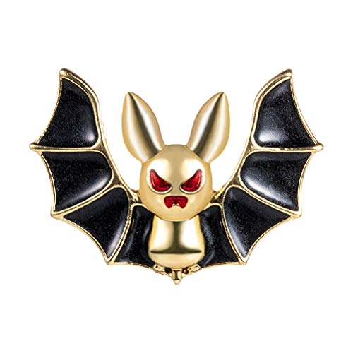 TENDYCOCO Women Animal Brooch Bat Brooch Pin Alloy Breastpin Clothes Ornament Halloween Party Favor for Women Ladies Girls (Black and Golden)