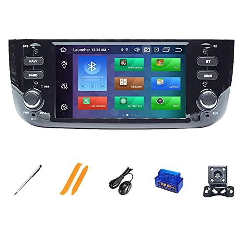 HAZYJT Auto Stereo Audio Player Doppio DIN FM Radio Android 10.1 Compatibile con Fiat/Linea/Punto Evo 2012-2015 7 Pollici Touch Screen GPS Navigazione Supporta Controllo del Volante