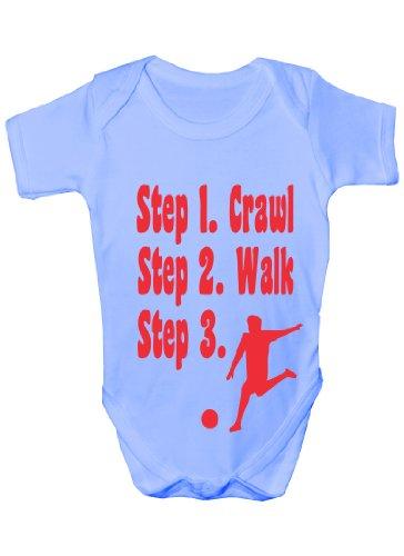 Print4U Steps To a Footballer/Football ~ Funny Babygrow ~ Cadeau pour bébés garçon/fille Gilet pour bébés - Bleu - 3-6 mois