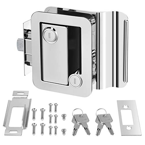 Kohree RV Travel Trailer Entry Door Lock with Paddle Deadbolt, Upgrade Polar Chrome Trailer Door Latch Counter Security Lock for Camper, Travel, Horse Trailer, Cargo Hauler