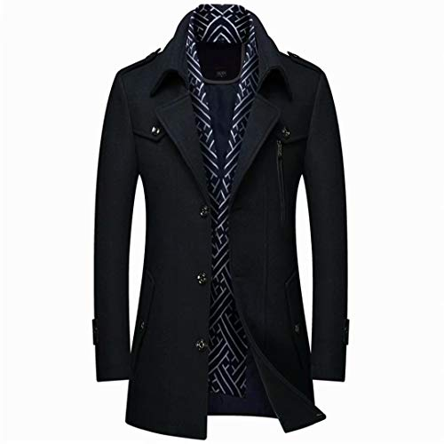 INVACHI Men's Single Breasted Winter Warm Mid-Length Woolen Coat Business Thick Jacket with Free Detachable Soft Touch Wool Scarf Black