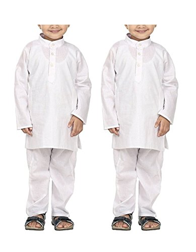 Royal Kids Wear White Pure Cotton Kurta Pyjama Set