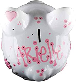 Pink Ladybug Girls Piggy Bank - Large - (Personalized & Custom With Name And Year) (First Financial Toy For Teaching Boys & Girls About Saving Money) (Perfect Unique Gift Idea For Babys 1st Birthday)