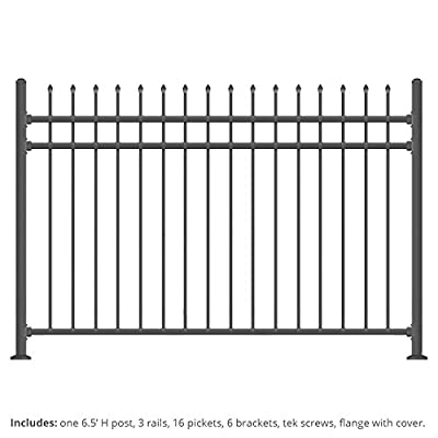 XCEL Black Steel Anti-Rust Fence Panel - Sharp End Pickets - 6.5ft W x 5ft H - Easy Installation - for Residential, Outdoor, Yard, Garden, Swimming Pool, on Concrete or Soil, 3-Rail, One Post included