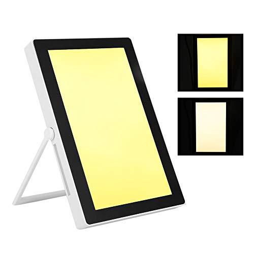 Lámpara de Luminoterapia LED, 5000-35000Lux Lámpara luz Solar Caja de luz LED de energía de Espectro Completo Libre portátil Brillo Ajustable, 3 Funciones temporización Color Blanco cálido