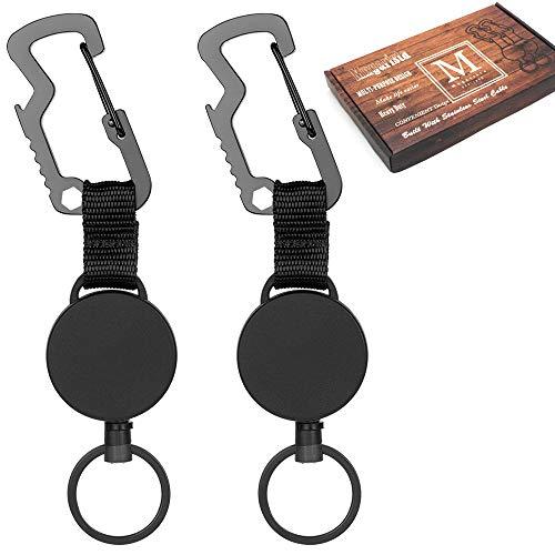 Retractable Key Chain, Multitool Carabiner Key Holder, Retractable Badge Holder Reel, Heavy Duty Badge Reel with Steel Cable, Black, 2Pcs Black Carabiner Key Holder