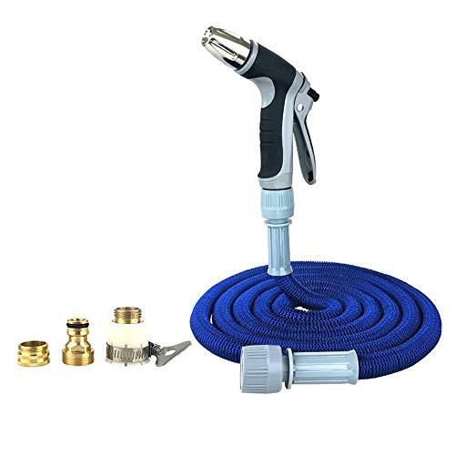KDOAE Set de Pistola de Espuma de Manguera Ampliable Jardín Manguera del Car Wash Manguera de jardín Triple telescópica Limpieza Tobera de Vidrio para Jardín (Color : Blue, Size : 75ft)