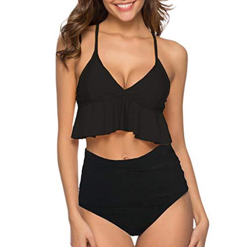 Riou Sexy Bikini Damen Set Push Up High Waist Bikinis für Mollige Cover Up Große Cups Brüste Rüschen Bikini-Sets Sport Tankini Bauchweg für Sommer Frauen Bademode Beach
