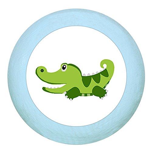 "Holz Buchegriff""Krokodil"" hellblau zartblau pastellblau pastell Holz Buche Kinder Kinderzimmer 1 Stück wilde Tiere Zootiere Dschungeltiere Traum Kind"