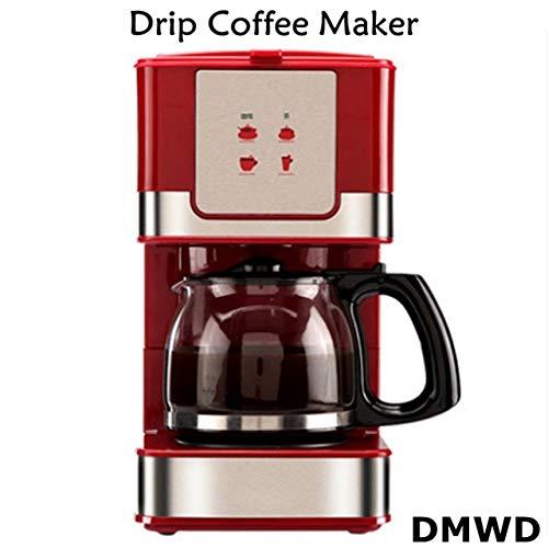 QHYY 220 V, 50 Hz, 550 W, 600 ml, 6 glazen stoomcapaciteit, praktisch mini-koffiezetapparaat, rood, hittebestendig glas
