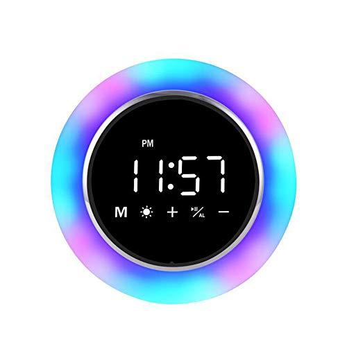 Bluetooth-Lautsprecherlampe, Touch-Sensor-Nachtlicht-Nachttischlampe mit Wecker-FM-Radio, dimmbares warmes Licht und tragbare 7-Farben-Campinglaterne