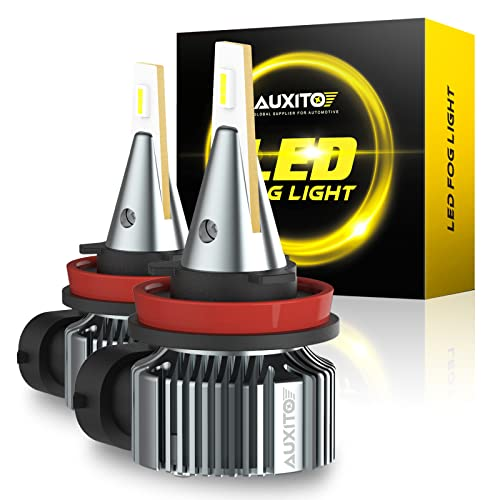 AUXITO H8 H11 H16 LED Fog Light Bulb, 6500K Cool White, 6000 Lumens Per Pair, Super Bright and Penetration, 30000 Hours Lifespan, Plug and Play, Canbus Error Free, Halogen Replacement DRL Bulbs 2Pack