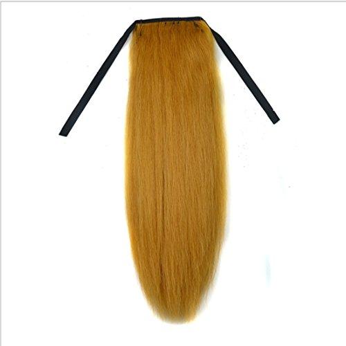 Extension de cheveux postiches 18 pouces Longue Ligne Droite Mixte Réel Hairpieces for Femmes Queue De Cheval Naturel Couleur Tendre Jaune Moelleux Droite Extension de Cheveux Perruques for Pas Chaud