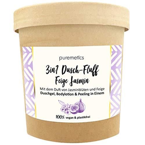 puremetics 3in1 Dusch-Fluff (250g) | Duschgel, Peeling und Lotion in Einem | 100% vegan & plastikfrei | pflegend, hautverfeinernd & glättend | ohne Mikroplastik | Meersalzpeeling (Feige Jasmin)