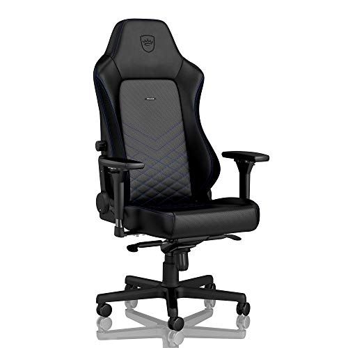noblechairs Hero Gaming Chair - Office Chair - Desk Chair - PU Leather - 330 lbs - 125° Reclinable - Lumbar Support - Racing Seat Design - Black/Blue chair gaming