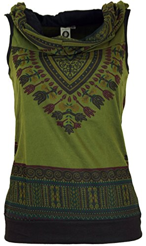 Guru-Shop Kapuzen Dashiki Tank Top, Goa Festivaltop, Damen, Olive, Baumwolle, Size:S/M (34/36), Tops & T-Shirts Alternative Bekleidung