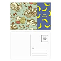 イースター祭のカラフルな角度馬 バナナのポストカードセットサンクスカード郵送側20個