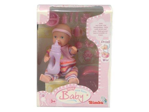 Simba 105033195 - Mini - New Born Baby, Pflegeset, Puppe 12 cm, sortiert