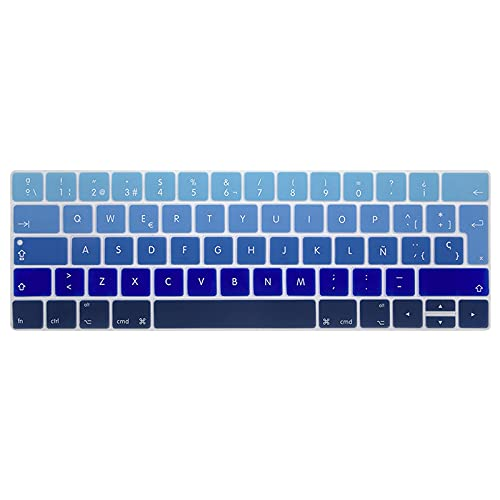 Spain EU-Enter Keyboard Cover Protector for Macbook Pro13 15 with touch bar A1706/ A1707/A1989/A1990 Keyboard protective film-Gradient blue