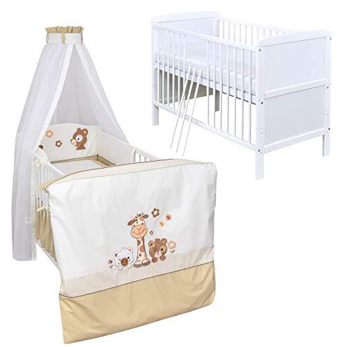 Baby Delux Babybett Komplettbett umbaubar Juniorbett weiß 140x70 mit mehrteiligem Bettset Safari