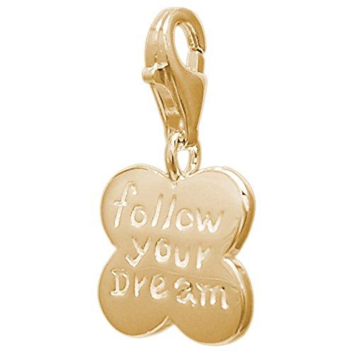 Melina dames-charm bedelarmband hanger klaverblad verguld geel goud 925 zilver - 1801621