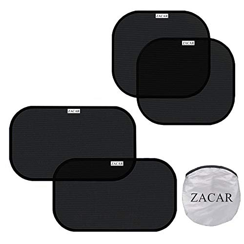 Car Window Shade (4 Pack), ZACAR Cling Car Window Shades for Baby, 80 GSM Car Sun Shade Protect Your Baby in the Back Seat from Sun Glare UV Rays,2 Pack 20