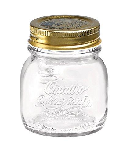 Set de 4tarros de Bormioli Rocco Quattro Stagioni para conservar alimentos con tapa hermética de rosca, vidrio, Jar Size:150ml