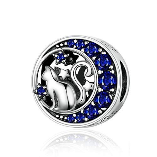 Vogel-Charm aus Sterlingsilber, Modeschmuck, Tier-Charm für Pandora-Armbänder (Mond und Katze)