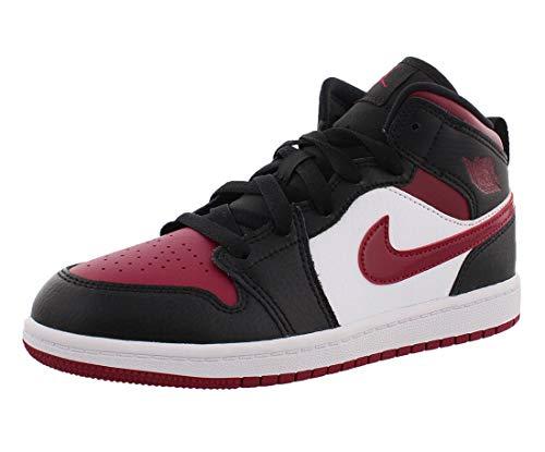 Nike Boys Jordan 1 MID (PS) Running Shoe, Black/Noble Red-White, 33 EU