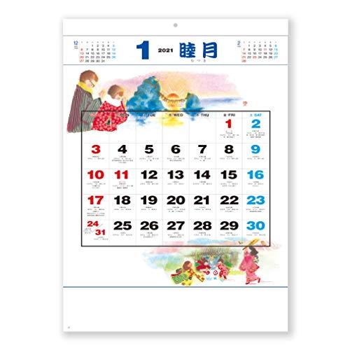 新日本カレンダー 2021年 カレンダー 壁掛け 風物歳時記 NK492