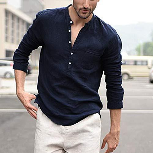 huichang T-Shirt en Coton Lin, Homme Chemise à Manches Longues en Coton Lin de Couleur Unie Chemise Ample T-Shirt Col de Chemise Bouton
