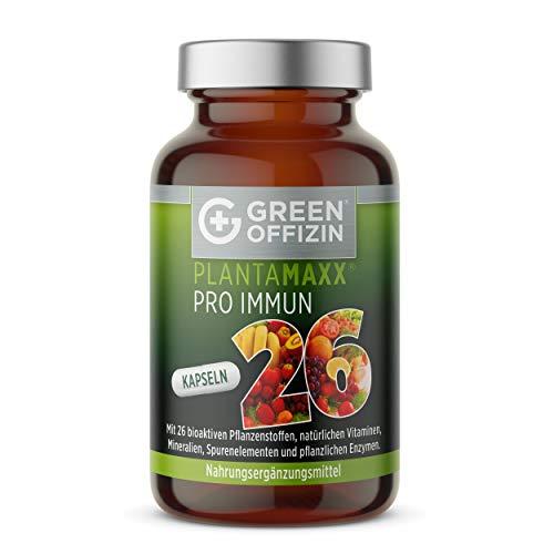 PLANTAMAXX Pro Immun 26 Superfood Kapseln aus Obst und Gemüse + Enzyme Bromelain & Papain + Multivitamin I Natürliche Antioxidantien Resveratrol Bio OPC Acai Hochdosiert Vegan (120 Kapseln)