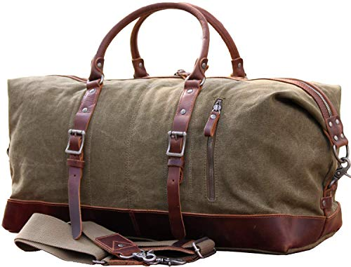 IBLUE Oversized Canvas Genuine Leather Trim Travel Tote Duffel Shoulder...
