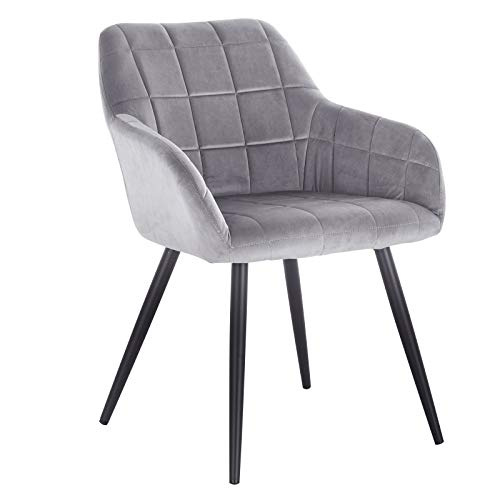 WOLTU® Esszimmerstuhl BH93gr-1 1 Stück Küchenstuhl Polsterstuhl Wohnzimmerstuhl Sessel mit Armlehne, Sitzfläche aus Samt, Metallbeine, Grau