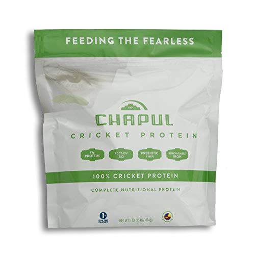 Chapul Cricket Protein Powder (Pure, 1 Pound) – 100% Cricket Flour, 25g Protein per Serving, High in Prebiotic Fiber, Sugar Free, 0 Net Carbs, Keto-Friendly