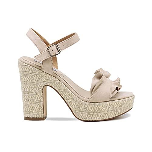QUEEN HELENA Sandalias de mujer elegantes de verano con cuña de punta abierta, negras, beige y rojos, con correa al tobillo, cómodas Beige Size: 38 EU