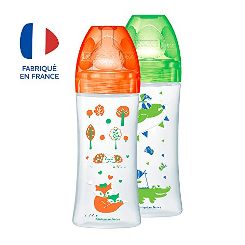 Dodie – Lot de 2 Biberons Anti-Colique Sensation+, Orange Forêt, 330 ml, +6 mois, Tétine Plate, Débit 3