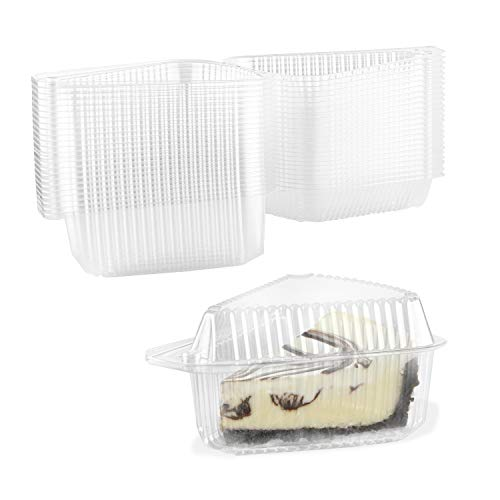 Cake Slice Container-Clear Cake Cheesecake Pie Slice Containers with Medium Dome Lid, Disposable Hinged, Pack of 50