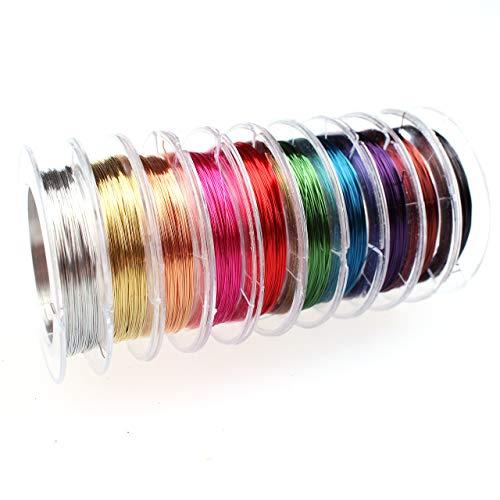 Creacraft Alambre de Cobre 0.3 mm, Set de 10 Colores por 10 m - Joyas Alambre, Alambre para Manualidades