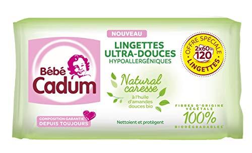 Bébé Cadum Lingettes à l'Huile d'Amande Douce Bio, Pour Visage, Corps et Mains,...