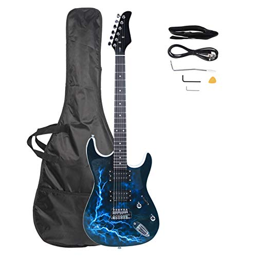 Lightning Style Electric Guitar with Power Cord/Strap/Bag/Plectrums Black & White - Electric Guitars for Beginner Starter