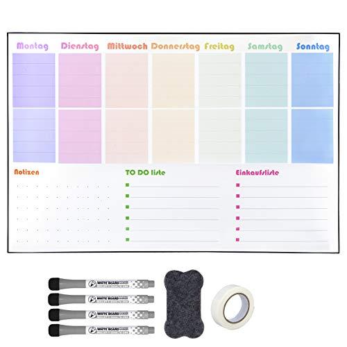 POPRUN 60×40cm Abwischbar Whiteboard Wochenplaner groß für die Wand,Selbstklebende Wandkalender für Magneten Memoboard Magnettafel für Küchen,Einkaufsliste und Essensplaner auf Deutsch